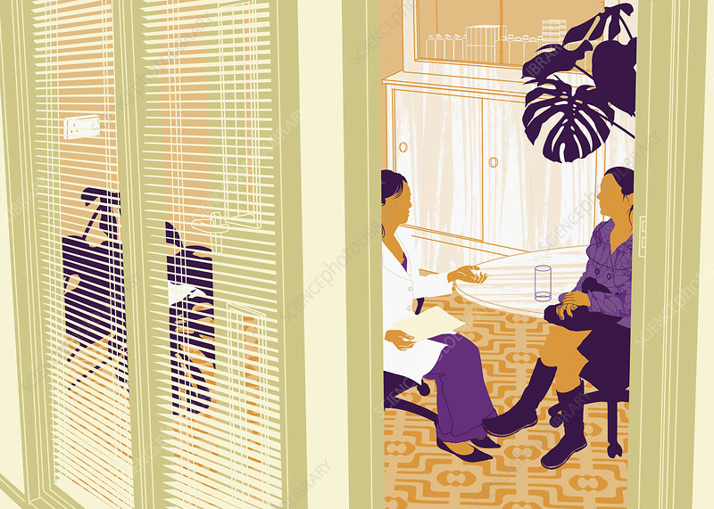 Doctor consulting with female patient, illustration