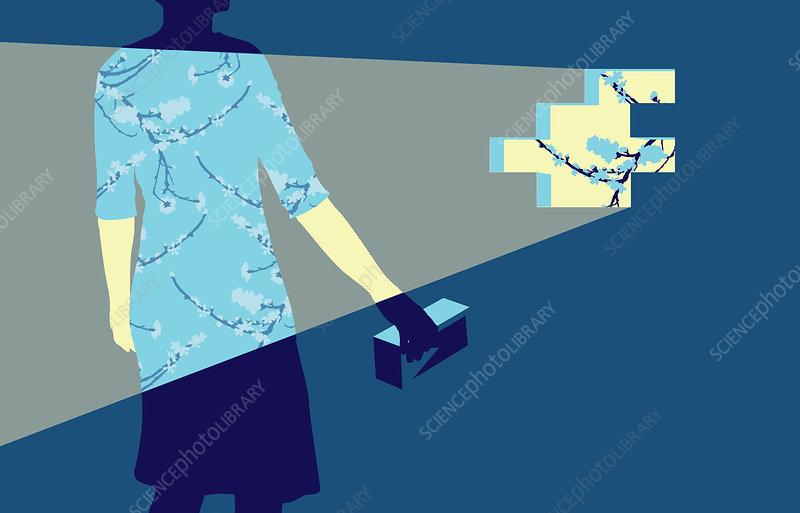 Woman holding brick, illustration