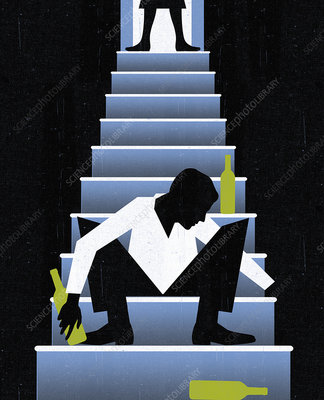 Woman standing over drunk man on stairs, illustration