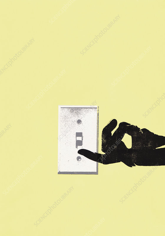Hand turning on light switch, illustration
