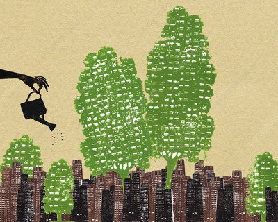 Hand watering trees in urban city, illustration