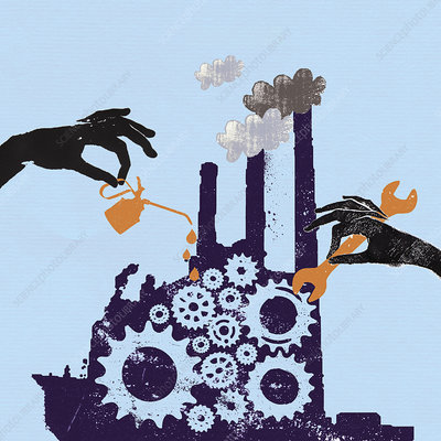 Hands oiling and improving cogs, illustration