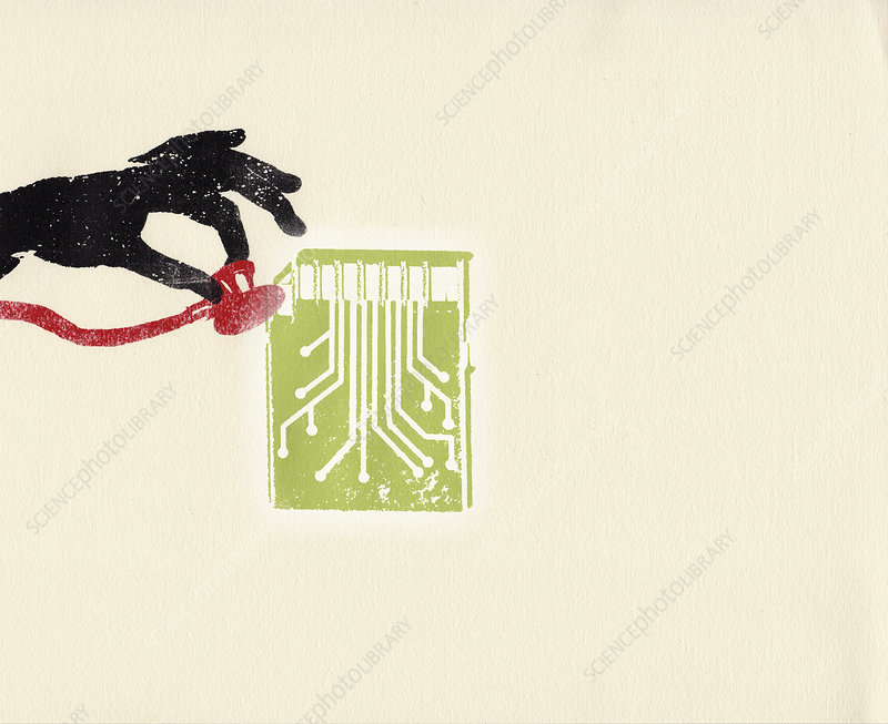 Hand holding stethoscope to memory card, illustration