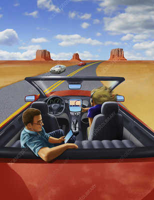 Passengers relaxing in driverless car, illustration