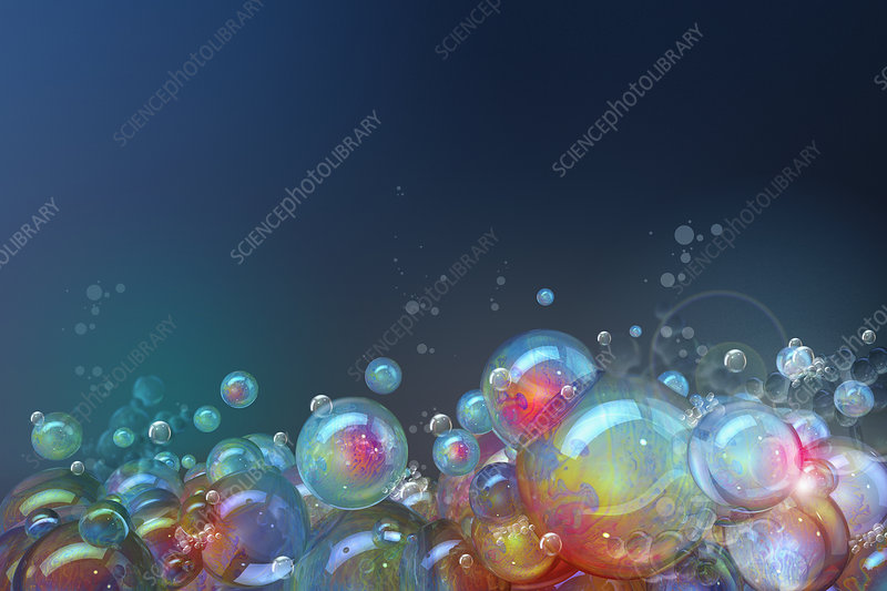Cluster of floating soap bubbles, illustration