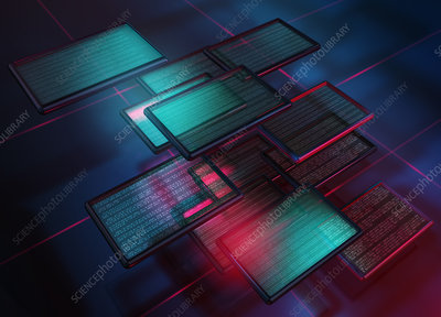 Illuminated digital tablets, illustration
