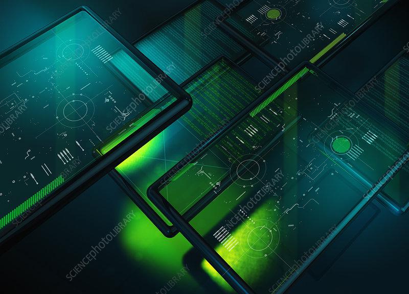 Illuminated digital tablets, illustration