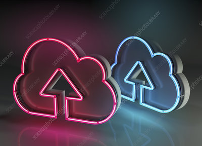 Cloud storage, conceptual illustration