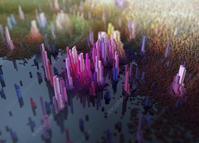 City topography, conceptual illustration