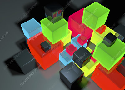 Stacked cubes, illustration