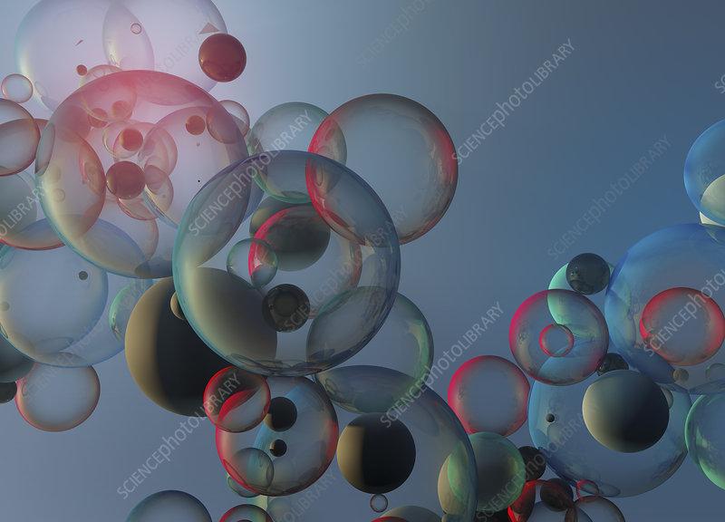 Floating bubbles, illustration