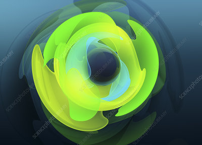 Concentric fluorescent shapes, illustration