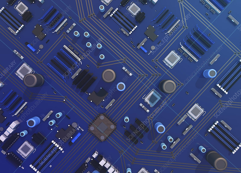 Computer motherboard, illustration