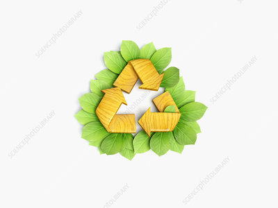 Recycling symbol surrounded by leaves, illustration