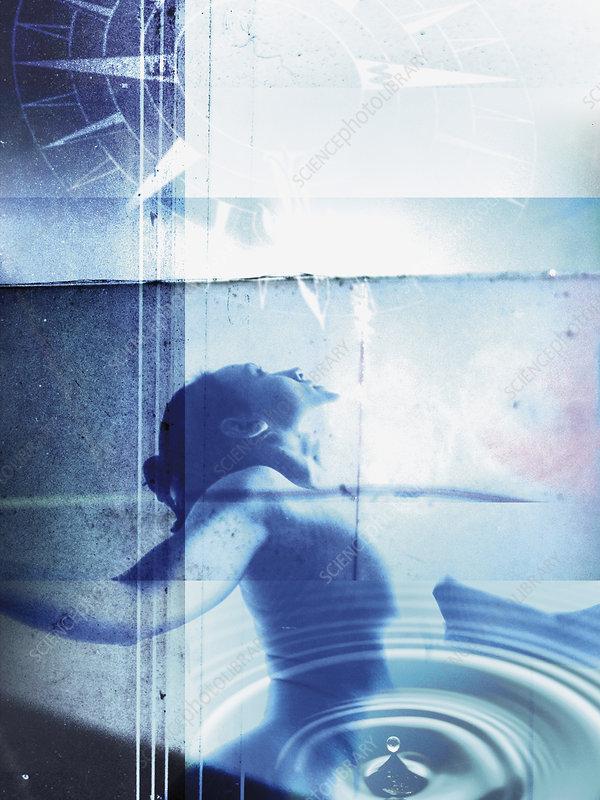 Composite image of ballet dancer, illustration