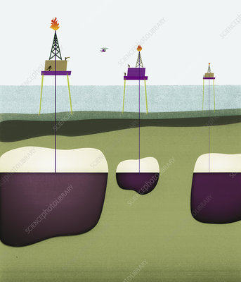 Oil wells drilling through ocean, illustration