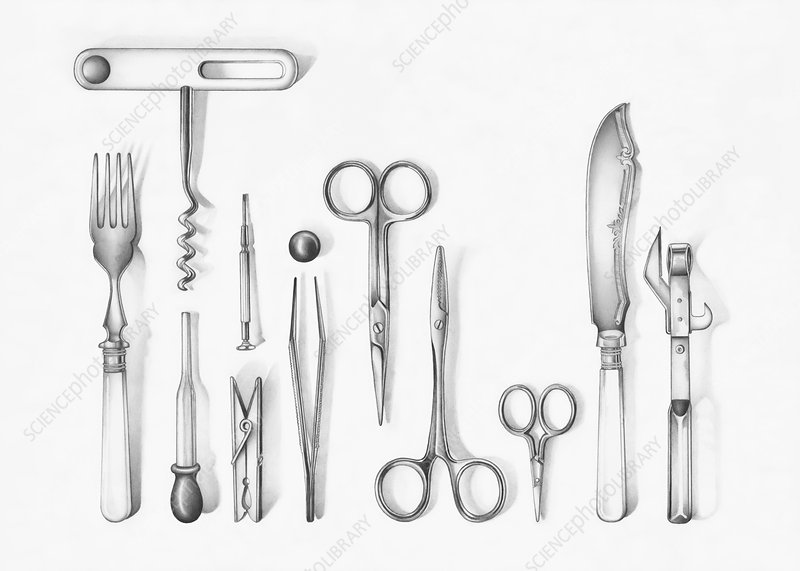 Variety of implements, illustration