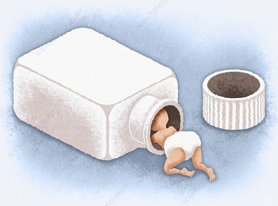 Baby crawling into open bottle of medicine, illustration