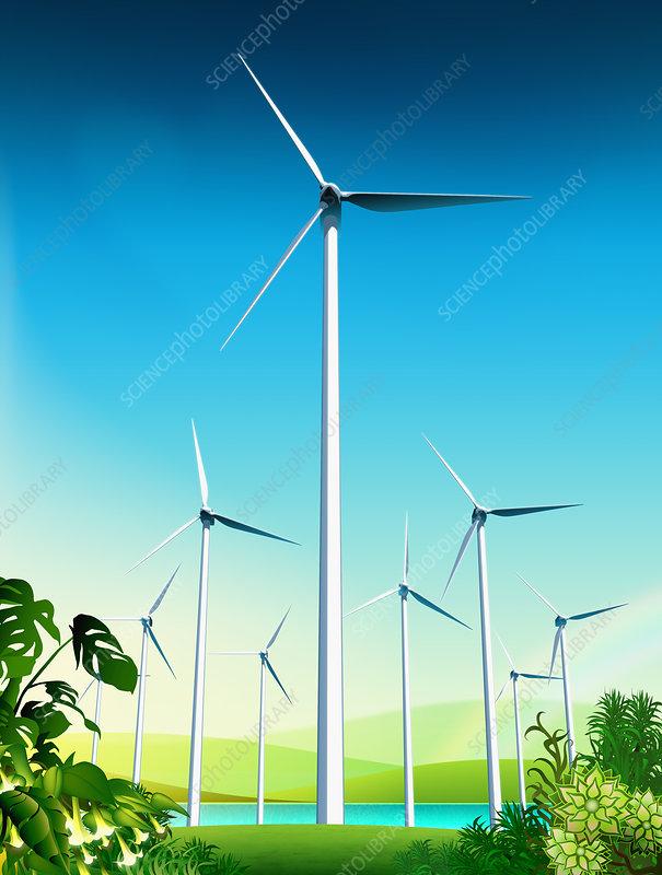 Wind turbines near lake in countryside, illustration