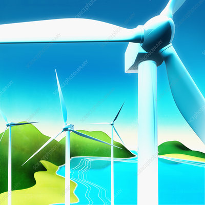 Wind turbines near lake in countryside, illustration