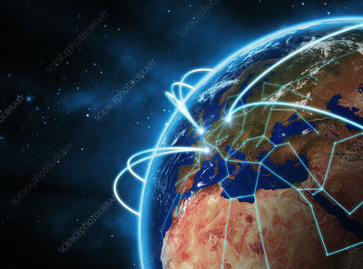 Glowing lines circling globe, illustration