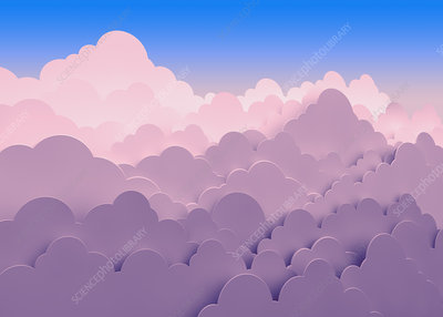Stacked pink clouds, illustration