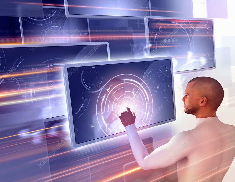 Man using touch screen technology, illustration