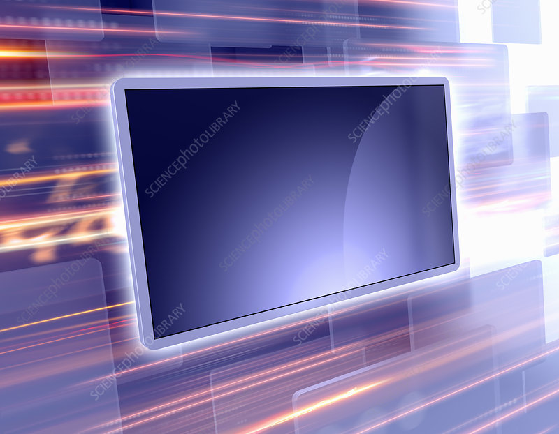 Screen technology with light trails, illustration