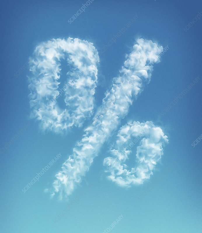 Clouds forming percent symbol in blue sky, illustration