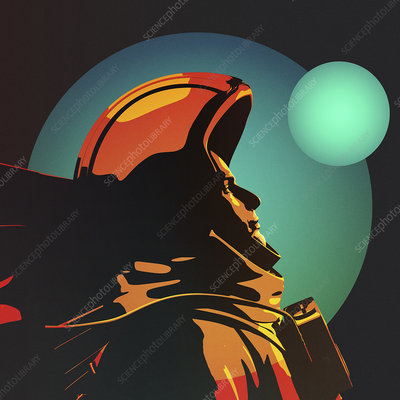 Astronaut wearing space suit, illustration