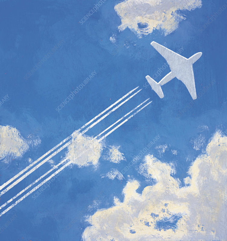 Airplane leaving contrail, illustration
