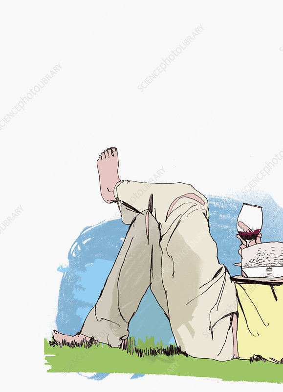 Person laying in grass drinking red wine, illustration