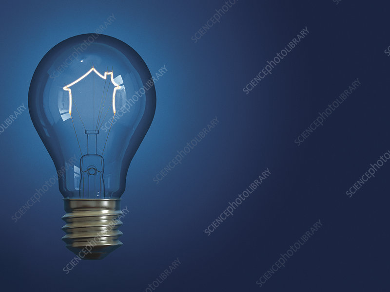 Light bulb shaped like house, illustration