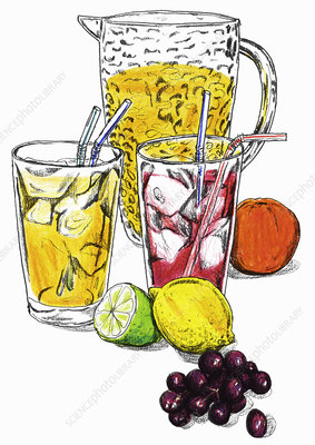 Variety of fresh fruit juices, illustration