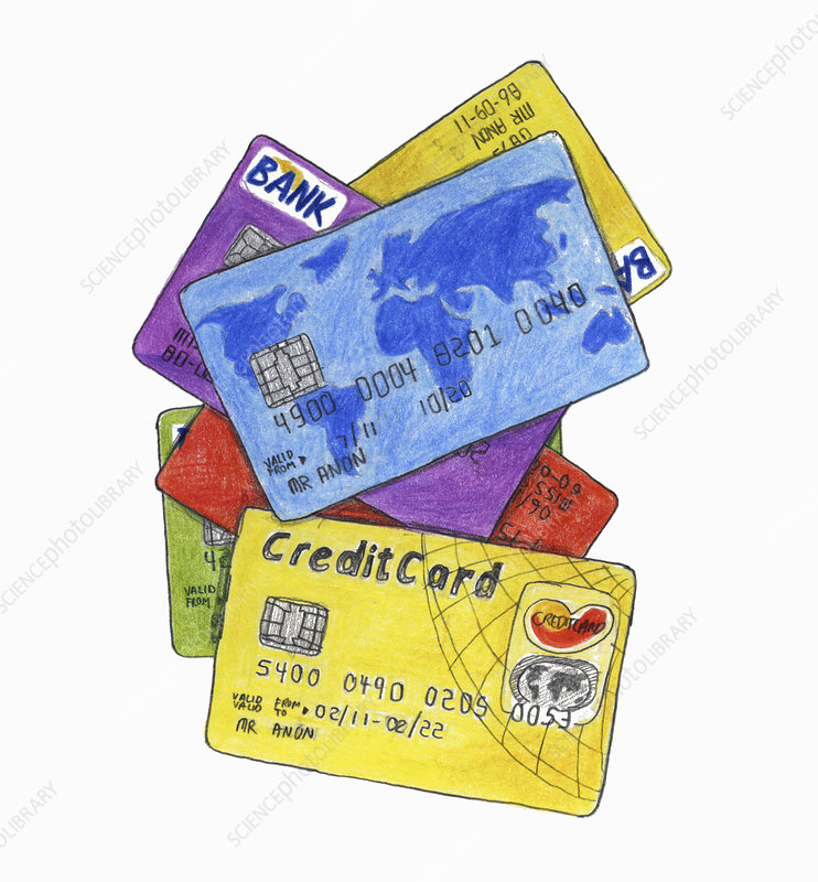 Heap of different credit cards, illustration