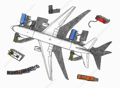 Airplane being prepared for take off, illustration