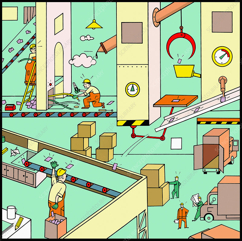 Men working in factory, illustration