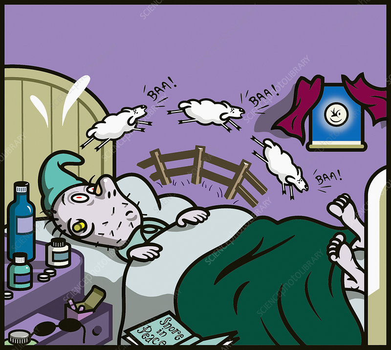 Insomniac man in bed counting sheep, illustration