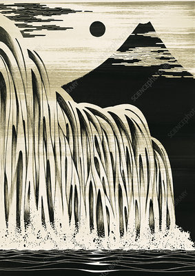 Waterfall and mountain, illustration