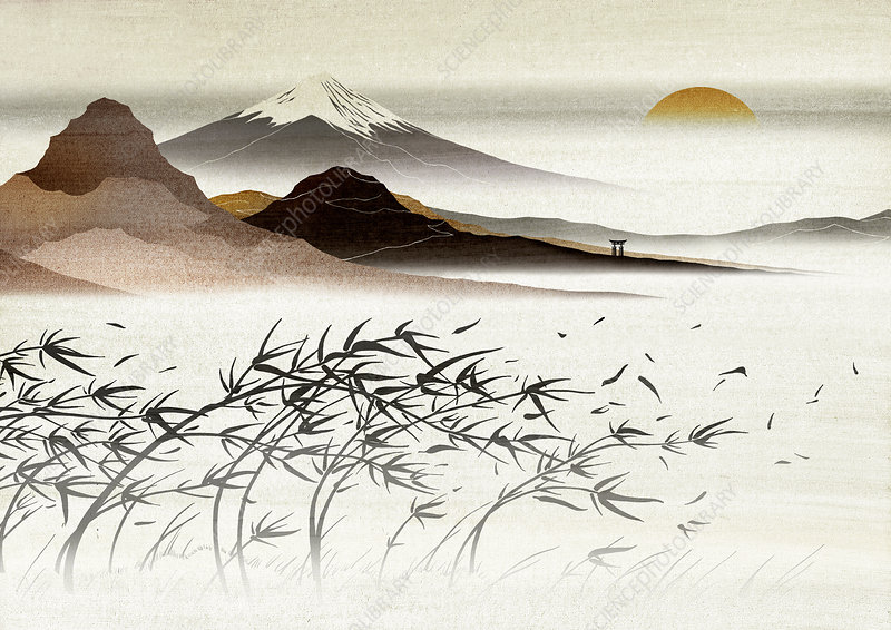Asian landscape with mountain in background, illustration