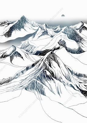 Snow-covered mountains, illustration