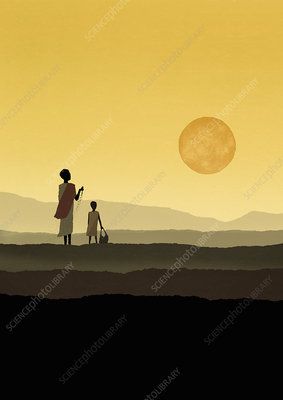 Mother and daughter watching sun, illustration