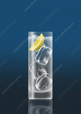 Glass of gin and tonic with slice of lemon, illustration