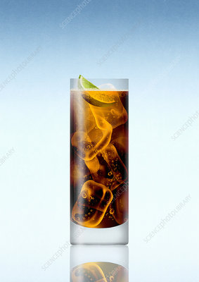 Glass of whisky and cola with slice of lime, illustration
