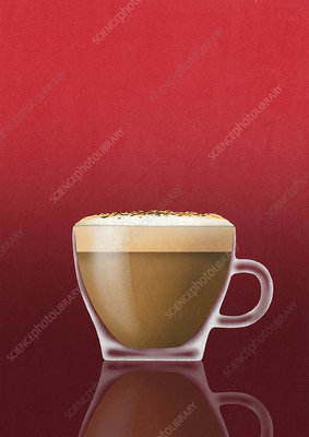 Cappuccino coffee in glass cup, illustration