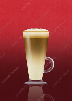 Latte coffee in glass cup, illustration