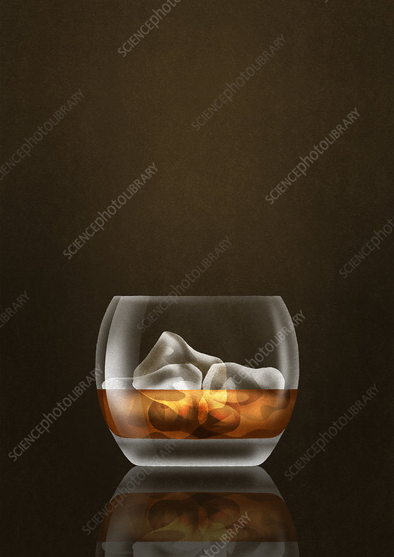 Whisky and ice cubes in tumbler glass, illustration