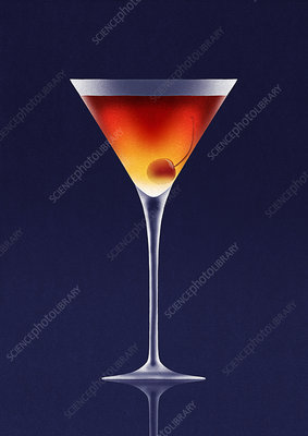 Martini glass with cherry inside, illustration