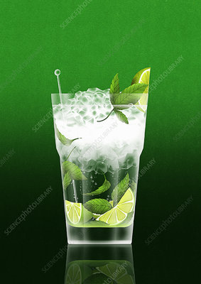 Cold cocktail with lime and mint, illustration