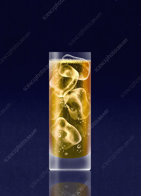 Drink with vodka and ice cubes, illustration